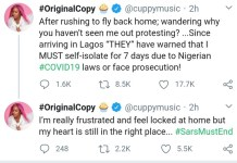 Celebrity disc jockey DJ Cuppy Is Not Protesting Because She Is On Self Isolation-EndSARS