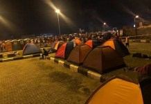 EndSARS protesters Camping tents set up for overnight