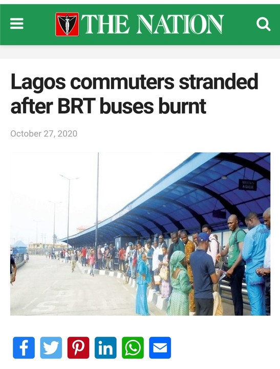 Lagos State Commuters Stranded After Burning Of BRT Buses By Protesters