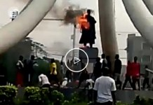 Nnamdi Azikiwe Statue At DMGS Roundabout Onitsha Is On Fire