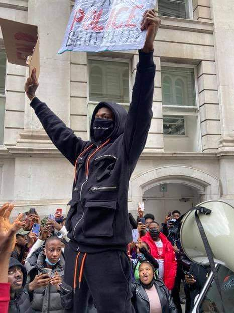 Photos Of Wizkid At Today's EndSARS Protest In London
