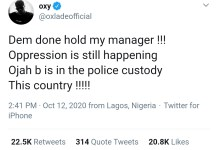 Pop artiste Oxlade Cries Out As Police Arrests Manager Ojabodu Ademola At Surulere Protest And Singer Sustains Injury