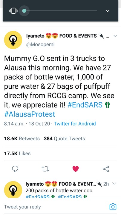 RCCG Mummy G.O Foluke Adeboye Sent 3 Trucks Of Water And Snacks To EndSARS Protesters In Alausa
