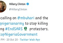 US Hillary Clinton Tweets At Buhari Says Stop Killing ENDSARS Protesters