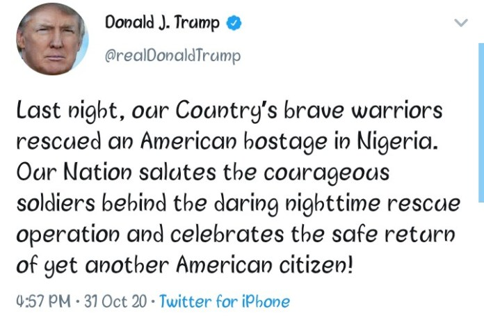 US President Donald Trump Salutes Soldiers Who Rescued An American Kidnapped In Nigeria