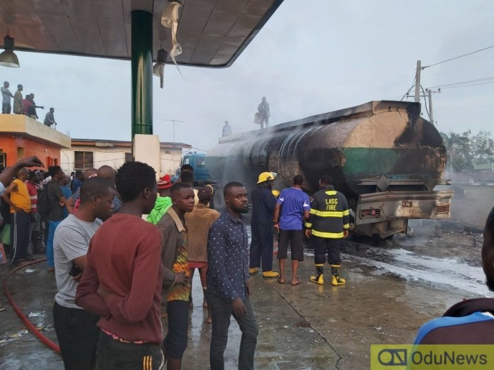 Video Of A Tanker Explosion At A Filling Station Along Ajayi Road, Ogba in Lagos
