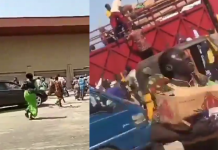 Video Of Kwara state people invading a warehouse in Ilorin Airport road, cart away COVID-19 palliatives