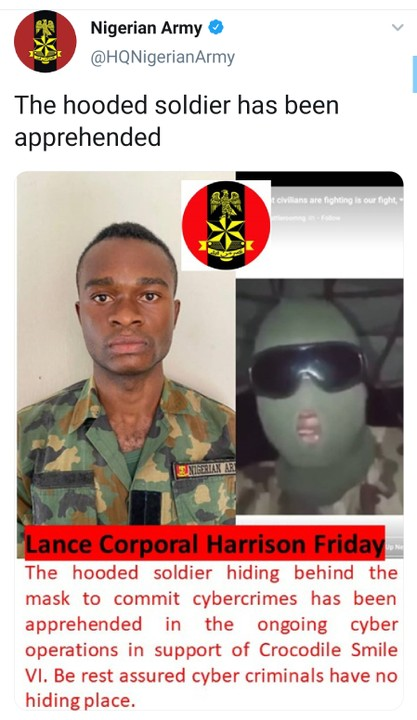 Video Of Masked Soldier Lance Corporal Harrison Friday Who Warned His Colleagues Not To Harm Citizens Apprehended By Nigerian Army