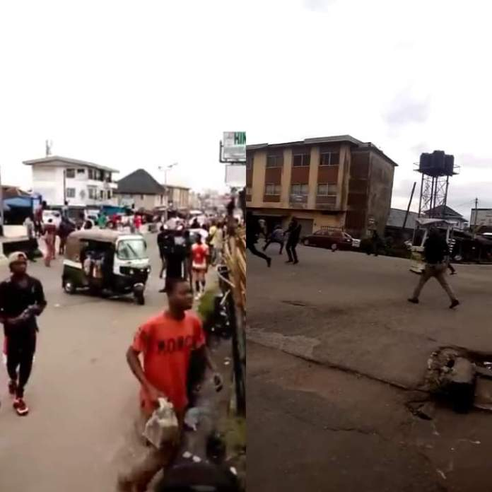 Video Of Policemen Shooting At EndSARS Protesters In Umuahia, Abia State
