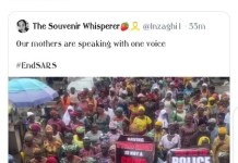 Video Of Women Protesting To EndSARS-Wizkid Shades Lauretta Onochie Saying See Your Mates