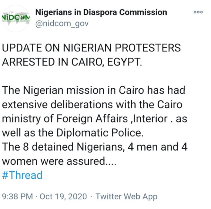 7 Nigerians To Be Deported By Egyptian Government Over End SARS Protest
