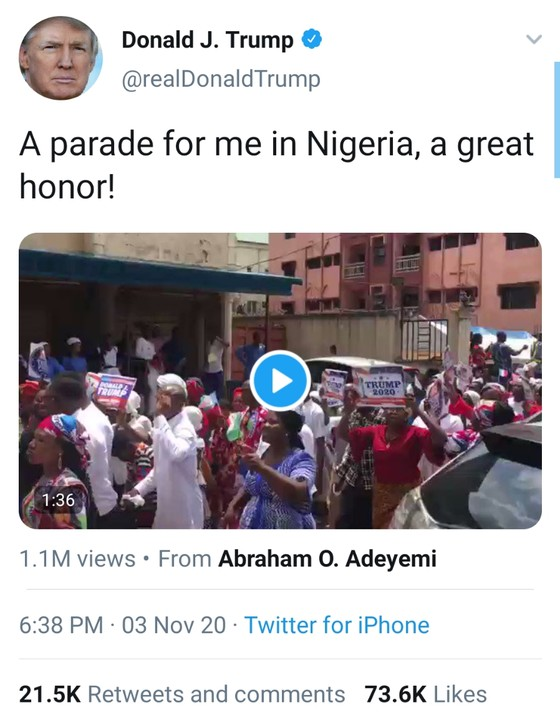 Donald Trump Tweets-A Parade For Me In Nigeria A Great Honor After Women In Anambra State Had A Match In Support Of Him