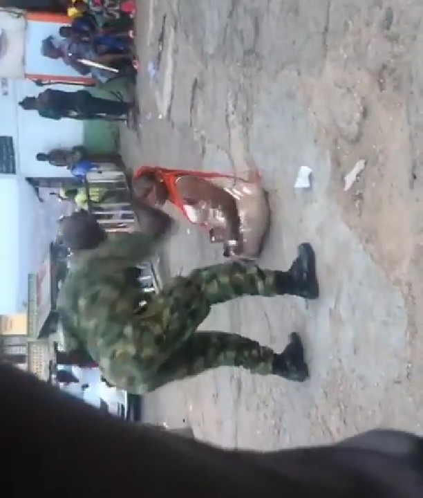 Video Of Soldier Flogging A Woman In Beere Ibadan For Indecent Dressing
