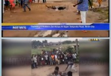 Video Of Two Alleged Robbers Set On Fire In Benin