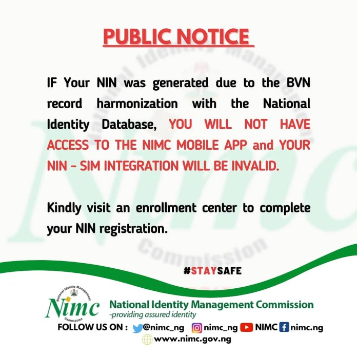 NIMC Says BVN Generated NIN Is Invalid