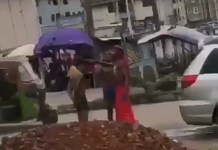 Video Of Yahoo Boys Bathing On The Road In Umuahia As Native Doctor Performs Ritual