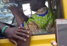 Video Showing An Elderly Woman Hijacking Commercial Bus From Lagos Driver