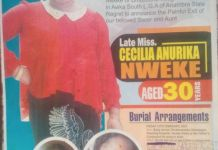 A Lady Cecilia Anurika Nweke Who Was Shot Dead During #EndSARS Protest In Awka, Buried Today