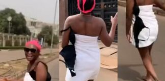 Video Of Blessing Okoro Running Into The Street In Her Towel To Celebrate 500K IG Followers