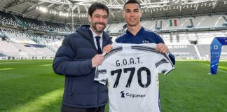 770th Career Goal Jersey Presented To Cristiano Ronaldo By His Club Juventus