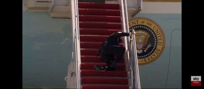Video Of US President Joe Biden Stumbling Multiple Times As He Boards Air Force One