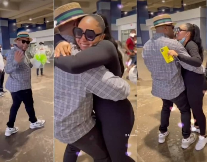 Video Of Rosy Meurer receiving warm welcome from her husband Olakunle Churchill as she returns to Nigeria with their son
