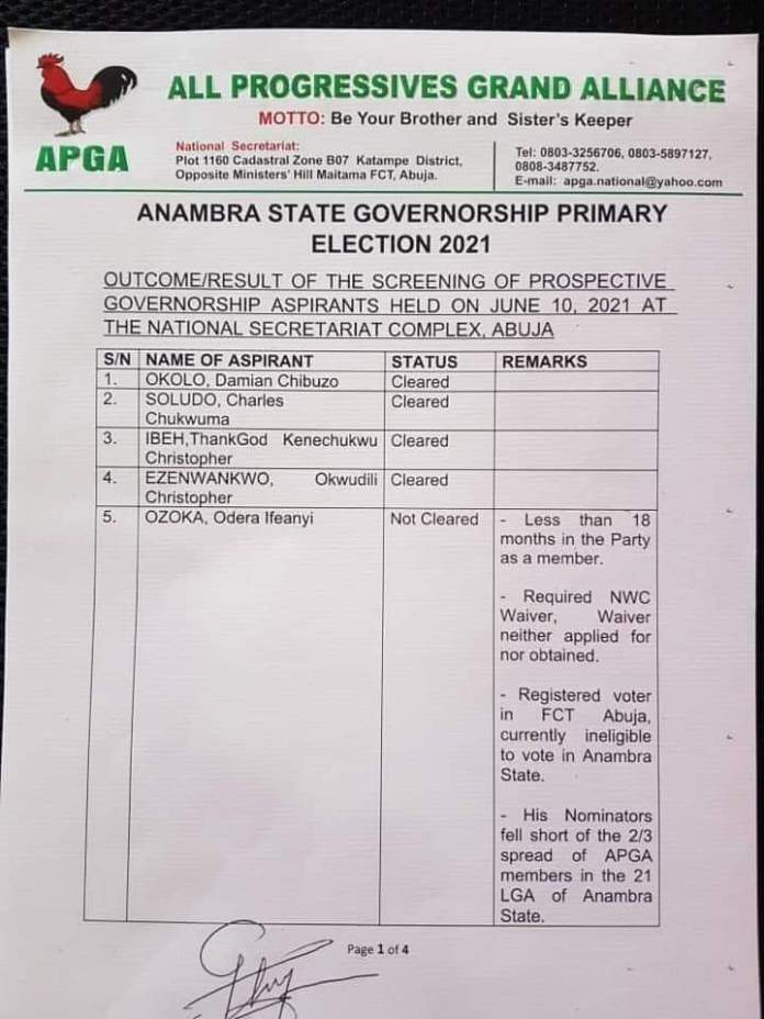 All Progressive Grand Alliance APGA Clears Former CBN Governor Soludo And Disqualified 5 Others