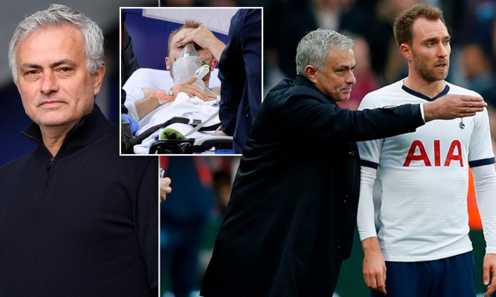 Jose Mourinho says he really cried and also prayed for Christian Eriksen after watching him suffer cardiac arrest on the pitch