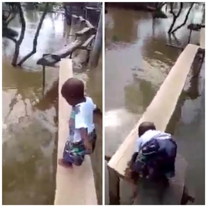 Video Of A Little Niger-Delta Boy Walking Alone On A Tiny Locally Made Bridge
