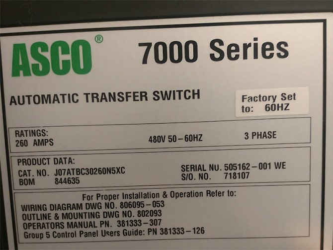 asco 260a series 7000 automatic transfer switch 6041