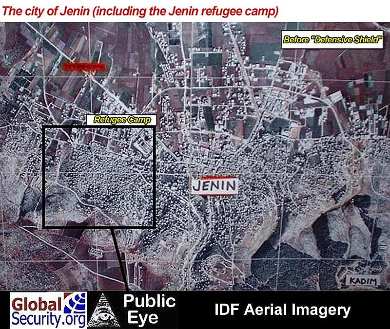 Aerial photo of Jenin, including the refugee camp.