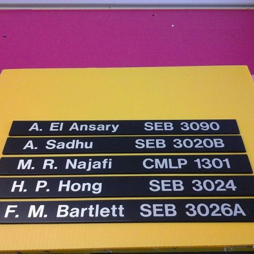 Directory sliders, vinyl on pvc