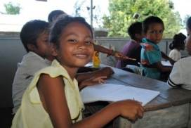 Children in Cambodia excited about learning safety!