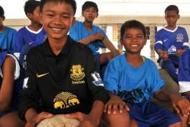 Children enjoy playing football and other games! at the Cambodia Sports Programme