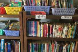 books provided for free to students at the Cambodia kids education project