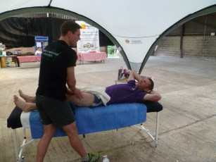Post race Massage, with a bar in the background
