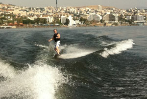 "HOLY WATER Bill Yeargin goes ""wakeskating"" on the Sea of Galilee."