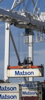 • GOING UP Matson Logistics schools its workforce in its comprehensive environmental policy and employs technologies to improve air and water efficiencies as well as prevent oil spills.