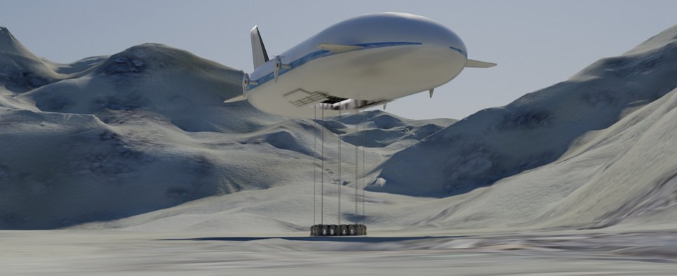 Aeroscraft is developing a heavy-lift air ship that will enable transportation of shipments of import cargo and shipments of export cargo in international trade to areas lacking in infrastructure.