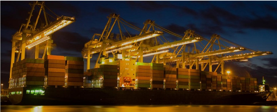 Oakland terminal handles shipments of export cargo and import cargo in international trade.