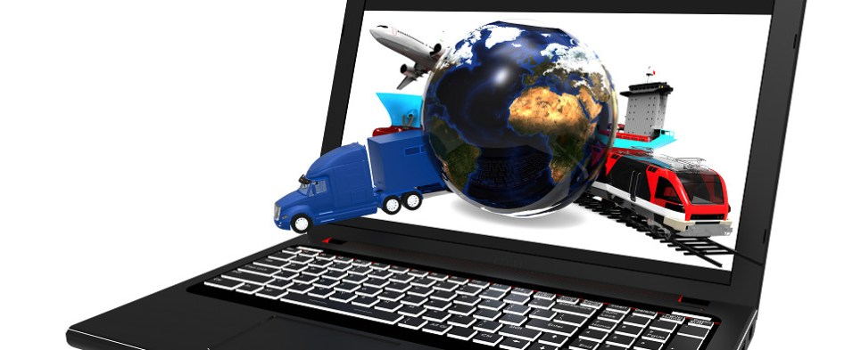 Online logistics marketplace processes shipments of export cargo and import cargo in international trade.