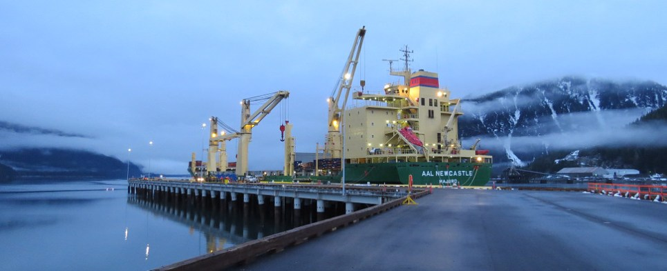 Ocean carrier's AAL's service to Stewart World Port, British Columbia is carrying shipments of export cargo and import cargo in international trade.