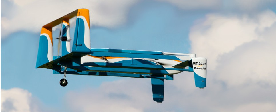 Amazon to use drones for last-mile deliveries of shipments of export cargo and import cargo in international trade.