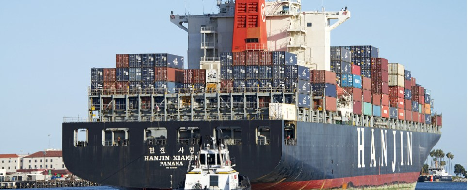 Vessles are transiting the expanded Panama Canal with shipments of export cargo and import cargo in international trade.
