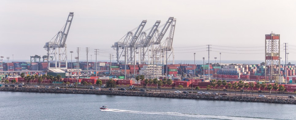 Federal lands used to expand Long Beach port for shipments of export cargo and import cargo in international trade.