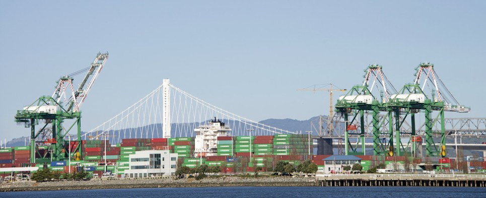 Trapac handles shipments of export cargo and import cargo in international trade at port of Oakland.