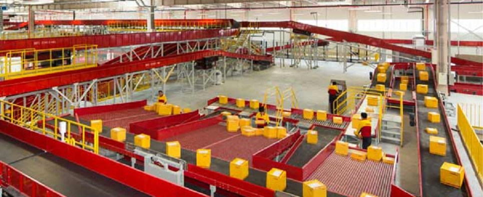 DHL's new southern California facility handles shipments of export cargo and import cargo in international trade.