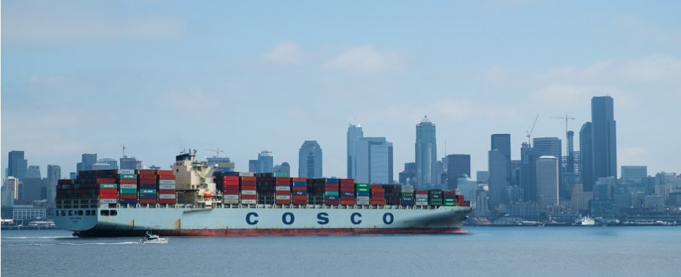 The Cosco Europe has increased fuel efficiency and reduced emissions while carrying shipments of export cargo and import cargo in international trade.