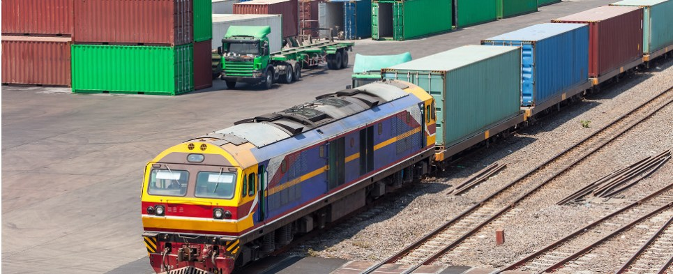 Train from China to UK is carrying shipments of export cargo and import cargo in international trade.