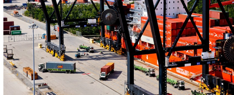 Port Everglades ios handling more shipments of export cargo and import cargo in international trade.